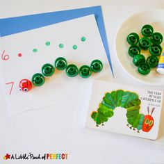 Counting Caterpillars Math Activity Inspired by the Hungry Caterpillar: This simple math activity is great for your preschooler and kindergartner to practice counting and fine motor skills. Motor Skills Activities, Counting Activities, Fine Motor Skills, Book Activities, Counting Caterpillar, Hungry Caterpillar Activities, Very Hungry Caterpillar, Eric Carle, Kindergarten Units
