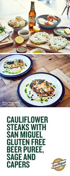 We've created this delicious, gluten-free recipe for Cauliflower Steaks with caramelised onion beer puree using our very own San Miguel Gluten Free. Check out the recipe and give it a try…More Clean Dinner Recipes, Clean Dinners, Healthy Dessert Recipes, Veggie Recipes, Vegetarian Recipes, Cooking Recipes, Cauliflower Steaks, Cauliflower Recipes, Gluten Free Beer