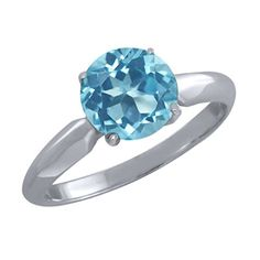 255 Ct Round Swiss Blue Topaz 925 Sterling Silver Ring * Click on the image for additional details.
