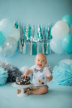 www.waterhousestudios.com, NC photographer, children's photography, children's studio photography, birthday session, cake smash session, blue and grey themed, first birthday photography