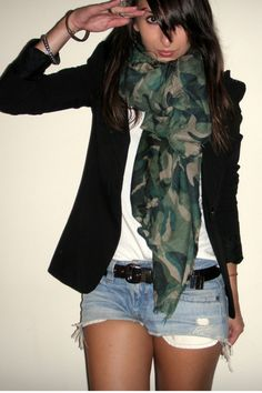 Camo (believe it or not) is coming in style this season! Use it easily by wearing it on accessories such as this scarf. Feeling bold? Purchase an old army jacket at an army surplus store and glam it up from there!