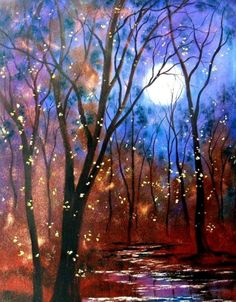 Harvest moon and fireflys PRINT   by Vadal   by jeanvadalsmith
