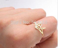 Nova Moda Anel Anéis de Casamento para As Mulheres em Ouro Origami Guindaste JZ252 Prata e Ouro Rosa