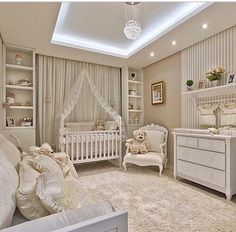 Gender neutral baby nursery room design with recessed lighting. Baby Bedroom, Baby Boy Rooms, Baby Room Decor, Nursery Room, Kids Bedroom, Bear Nursery, Room Baby, Baby Nursery Neutral, White Nursery