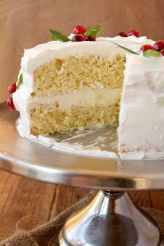 EGGNOG TRES LECHE CAKE -- Yellow Cake soaked with Eggnog, Condensed Milk and Evaporated Milk...