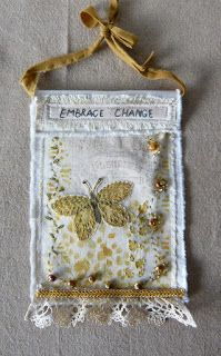 I like this butterfly shape a lot - - - Craft Mix: Embrace Change mixed media prayer flag Vintage Embroidery, Hand Embroidery, Embroidery Stitches, Embroidery Ideas, Sewing Crafts, Sewing Projects, Fabric Brooch, Prayer Flags, Fabric Journals