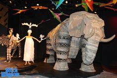 example of elephant and bird lady costumes for Lion King