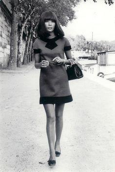 Hiroko Matsumoto in a wool dress by Pierre Cardin (Spring/Summer 1968).
