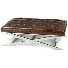 Regina Andrew Metal and Vintage Brown Cocktail Ottoman