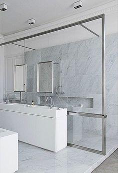 Sleek glass divider, Trocadero apartment in Paris by DLM Damien Langlois-Meurinne _