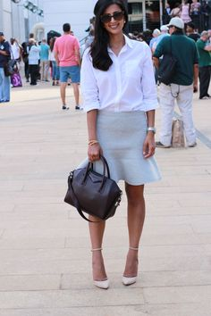 Fashion Week outfit - Jcrew Skirt, Schutz heels, Givenchy bag, Forever21 top