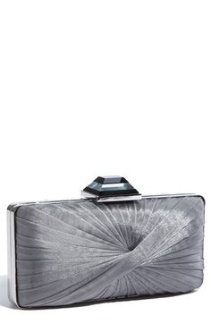 pleated gray clutch