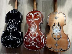 All rights reserved. My work may not be reproduced, copied, edited, published transmitted or up. 3 handpainted violins I Cello Art, Violin Music, Guitar Art, Viola Instrument, Fancy Music, Stradivarius Violin, Painted Ukulele, Cool Violins, Music Photo