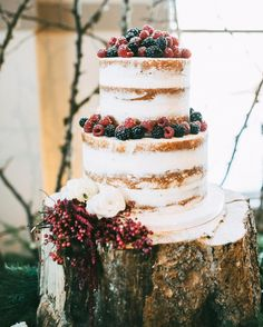 Love this for a wedding cake - topped with fresh raspberries and blackberries - Witney Carson's wedding