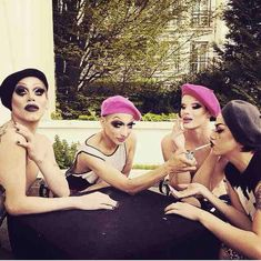 Ru Paul Drag Race Stars - Sharon Needles, Adore Delano, Ivy Winters , Bianco del Rio. Paris