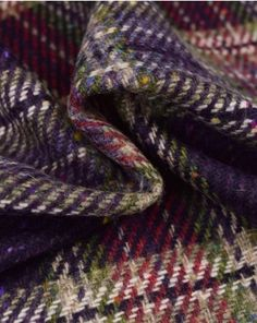 Pure Wool Donegal Tweed Fabric | Pink & Purple Plaid | Truro Fabrics