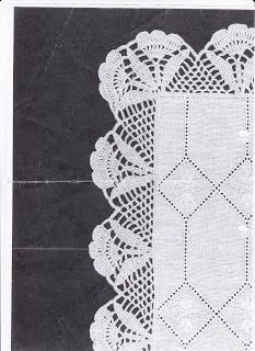 Riscos e Gráficos de crochet: Barrado com canto para toalhinha de chá