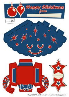 Blog Paper Toy papertoy Xmas Tree blue template preview Sapins de Noël en papertoy (x 3)