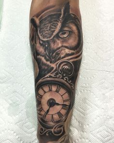 Best owl tattoo clock tattoos tattoo idea work by Rods Jimenez black and grey tattoo 3dtattoo arm sleeve tattoo realistic tattoo inked matching tattoo