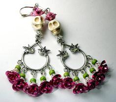 Skull earrings, Frida Kahlo earrings, Sugar Skull, Pink Roses,  Day of the Dead Jewelry on Etsy, $17.84