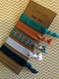 Fox Hair Ties Boho Chic Copper Turquoise glitter elastic Bohemian pony tail holder