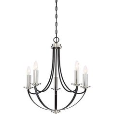 Quoizel Alana Mystic Black 23 Inch Five Light Chandelier On SALE