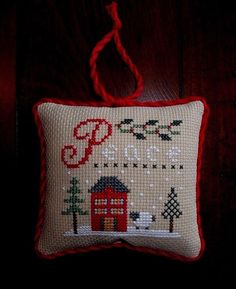 finished completed cross stitch Christmas ornament pillow Lizzie Kate PEACE | eBay