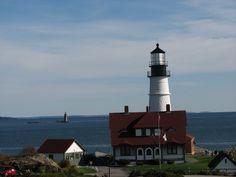 Portland Head Light and Ram Island Ledge Lighthouse in the distance.
