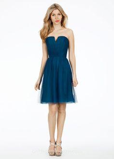 Fabulous Strapless Navy Blue V-neck Knee Length Bridesmaid Dress