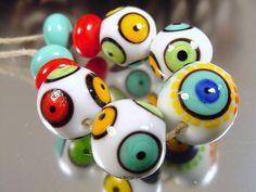 Lampwork glass bead set handmade artisan glass by AvasBeadGarden