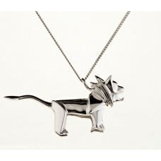 Origami lion - silver necklace