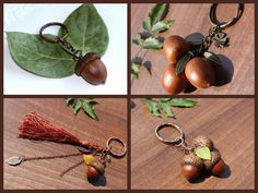 Keychain from Real Acorn, Botanical rectangular key fob, Nature, Hand-made jewelry, OOAK, gift Valentine's Day, everyone, men, boys, unisex
