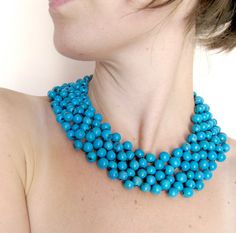 turquoise blue bead necklace mexican style. $62.00, via Etsy.
