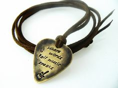 Guitar Pick Necklace, where words fail music speaks, Stamped Jewelry, Boyfriend, Friend, Husband, Dad, Son Gift