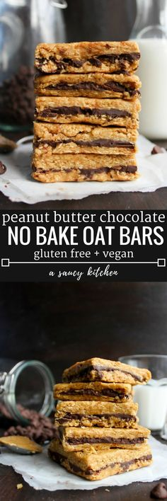 Peanut Butter Chocolate Oat Bars 4 ingredient + no bake Gluten Free + Vegan Option Gluten Free Baking, Vegan Baking, Gluten Free Desserts, Vegan Gluten Free, Dairy Free, Gluten Free Bars, Paleo Vegan, Lactose Free, Vegan Treats