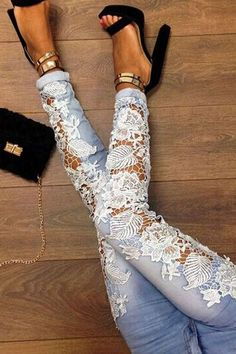 Hollow Out Lace Tight Jeans Pants Trousers