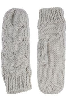 Warm your mitts with these chunky knit mittens; featuring cable-knit detailing.