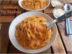 ΣΥΝΤΑΓΕΣ ΤΗΣ ΚΑΡΔΙΑΣ: Σπαγγέτι με κόκκινη κρεμώδη σάλτσα Risotto, Macaroni And Cheese, Spaghetti, Pizza, Pane, Ethnic Recipes, Food, Mac And Cheese, Essen