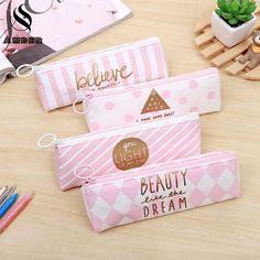 AMBER School Triangle Pencil Case for girls Canvas Pencil Bag Pencilcase Storage Cosmetic Bag Stationery Supplies BD011 #Affiliate
