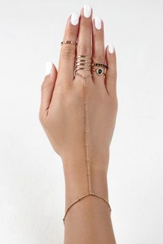 Sectioned Hand Chain and Rings Set