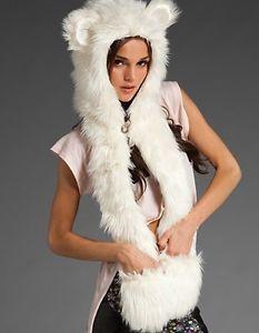 Free Shipping New Warm Winter White Women Animal cap Faxu fur one cartoon hat
