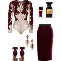 A fashion look from December 2016 by remedijos featuring Amen, Roland Mouret, Givenchy, Oscar de la Renta and Tom Ford