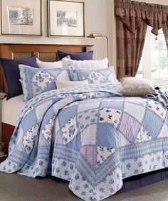 Blue Garden of Blues Patchwork Three-Piece Quilt Set. #quilts #quiltsets #beddingsets
