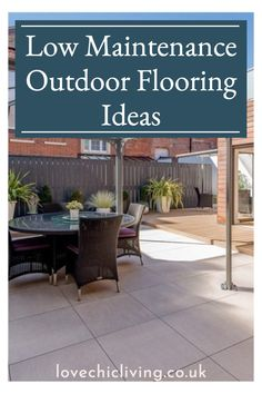 Are you looking for low maintenance outdoor flooring ideas? Not sure if wooden outdoor flooring or tiled outdoor flooring is best suited to your garden design? Check out these outdoor flooring design ideas, and patio flooring ideas that are low maintenance and inexpensive! These patio flooring designs and inexpensive outdoor flooring ideas will make your outdoor seating area look amazing all year around without any expensive upkeep! Outdoor Flooring Options, Patio Flooring, Flooring Ideas, Outdoor Seating Areas, Outdoor Spaces, Outdoor Living, Inexpensive Patio, Contemporary Garden Rooms, Lawn Turf