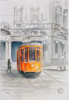 tram in piazza Cordusio,Milano- acquerello 35x51 di Lorenza Pasquali n.d