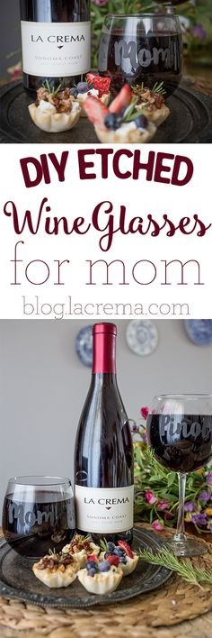 DIY etched wine glasses for mom- a fun and easy DIY gift!
