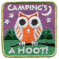 Camping, Hoot, Owl, Glow, Dark, Stars, Night, Patch, Embroidered Patch, Merit Badge, Badge, Emblem, Iron On, Iron-On, Crest, Lapel Pin, Insignia, Girl Scouts, Boy Scouts, Girl Guides