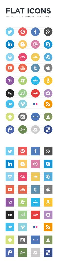 Free Flat Social Icons pinned with Pinvolve - pinvolve.co