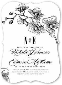 Lovely Orchids Wedding Invitation, Bracket Corners, White