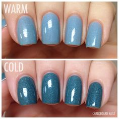 pretty and polished Tomboyish, a thermal polish that goes from a rainy blue when warm to a deep teal when cold